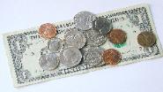 Coins on a dollar bill
