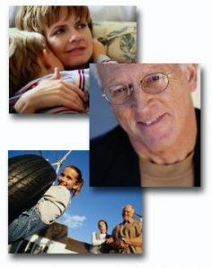 People and families - woman holding a child, man looking forward, adults watching a child play